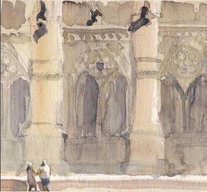 Aquarelle Philippe Dargent, La cathédrale de Reims