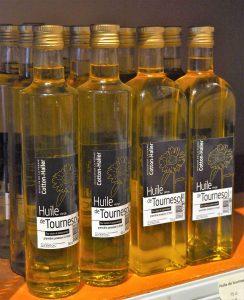 Flacons d'huile de tournesol