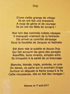 Petit poème sur la bière Orjy !
