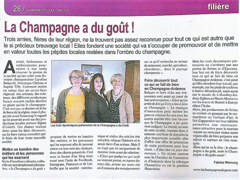 La Champagne a du goût dans La Marne Viticole