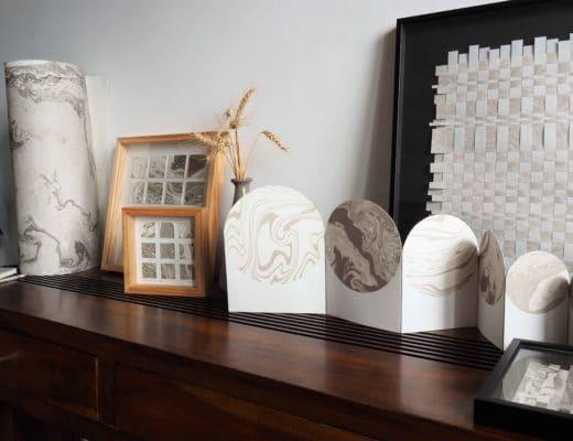 Différentes oeuvres en papier marbré