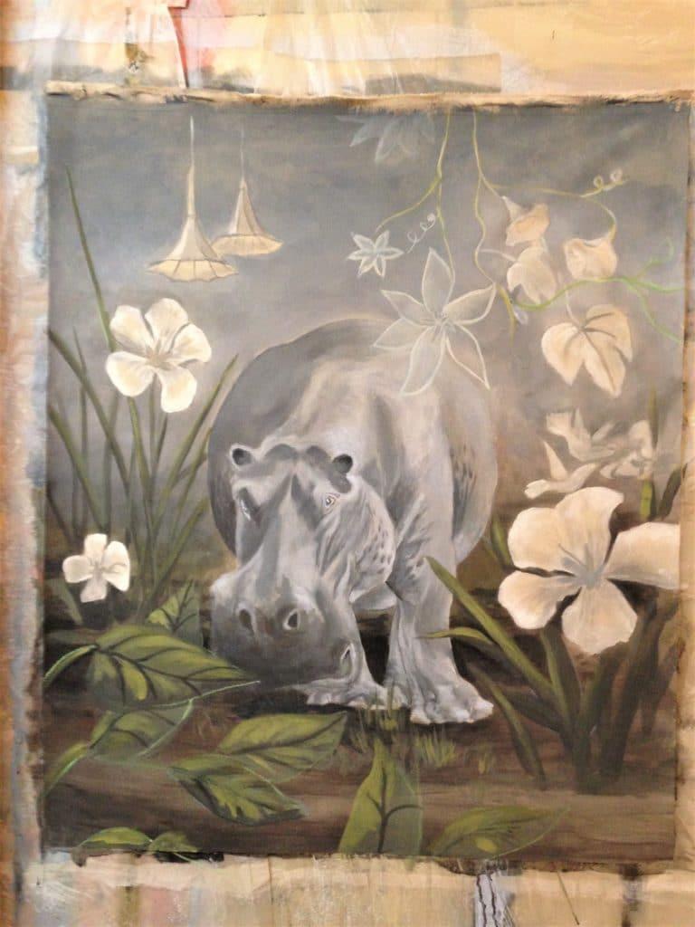 Hippopotame, peinture sur toile