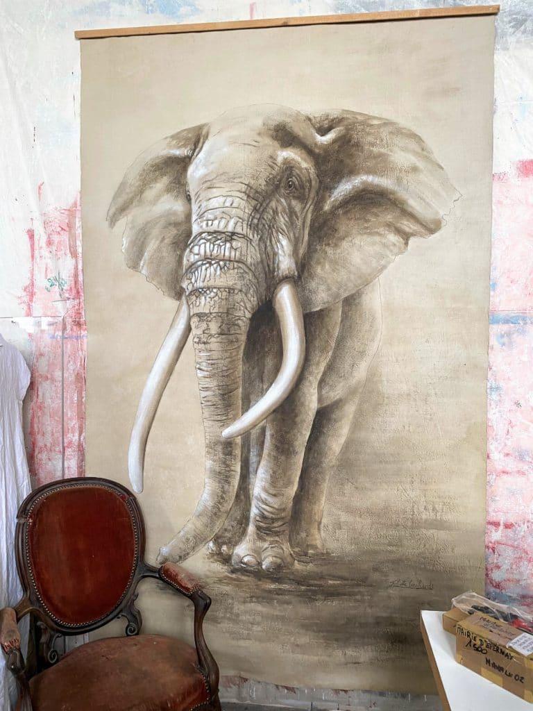 Eléphant, peinture sur toile