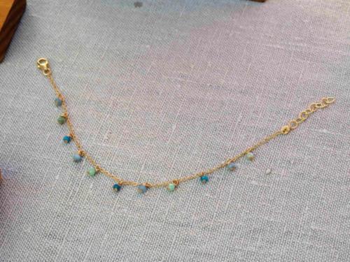 Bracelet pierres semi-précieuses sur or 14 carats