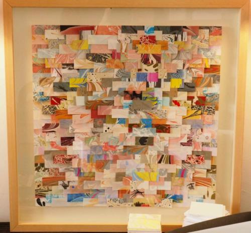 Tableau en tissage de papiers marbrés